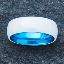 Load image into Gallery viewer, White Ceramic Ring - Resilient Blue