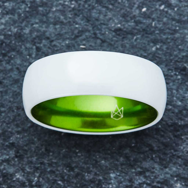 White Ceramic Ring - Resilient Green