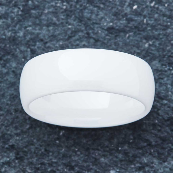 White Ceramic Ring - Minimalist