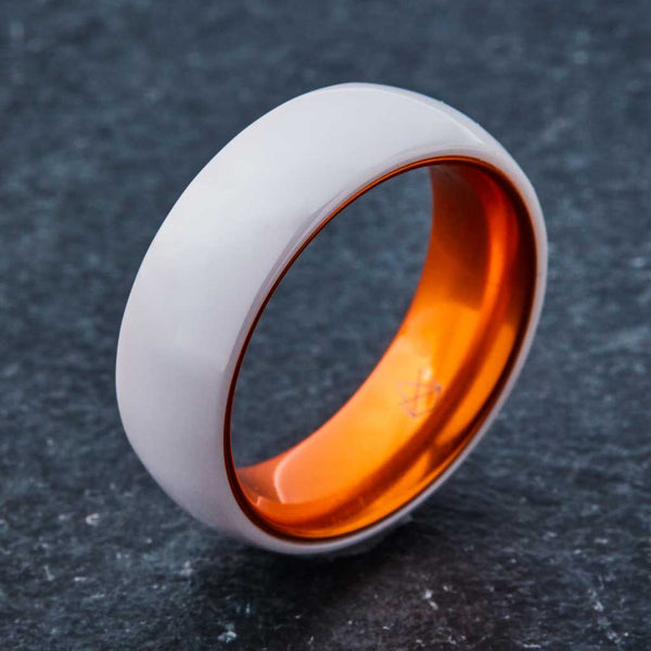 White Ceramic Ring - Resilient Orange