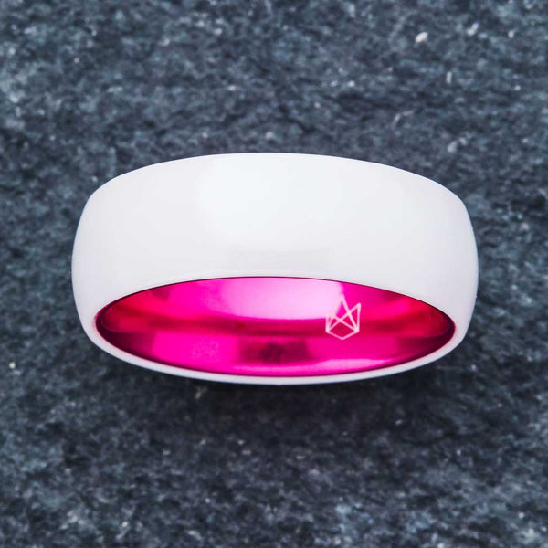 White Ceramic Ring - Resilient Pink