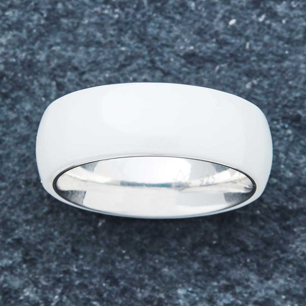 White Ceramic Ring - Sterling Silver