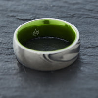 Wood Grain Damascus Steel Ring - Resilient Green