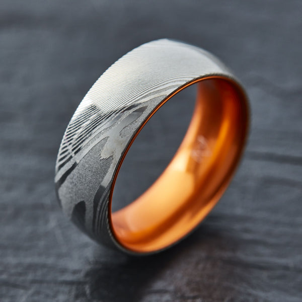 Wood Grain Damascus Steel Ring - Resilient Orange