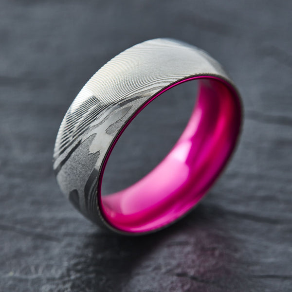 Wood Grain Damascus Steel Ring - Resilient Pink