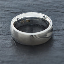 Load image into Gallery viewer, Wood Grain Damascus Steel Ring - Sterling Silver