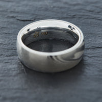 Wood Grain Damascus Steel Ring - Sterling Silver