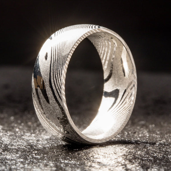 Wood Grain Damascus Steel Ring - Minimalist