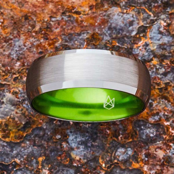 Silver Tungsten Ring - Resilient Green - 8MM