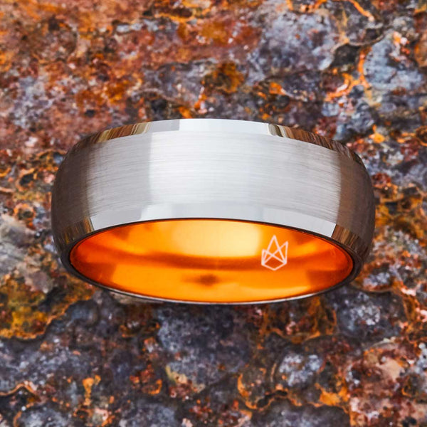 Silver Tungsten Ring - Resilient Orange