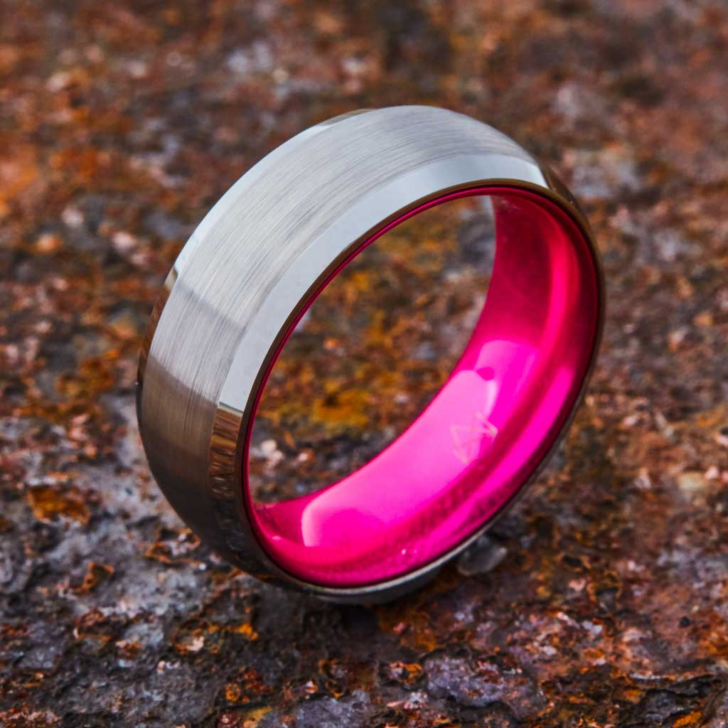 Silver Tungsten Ring - Resilient Pink