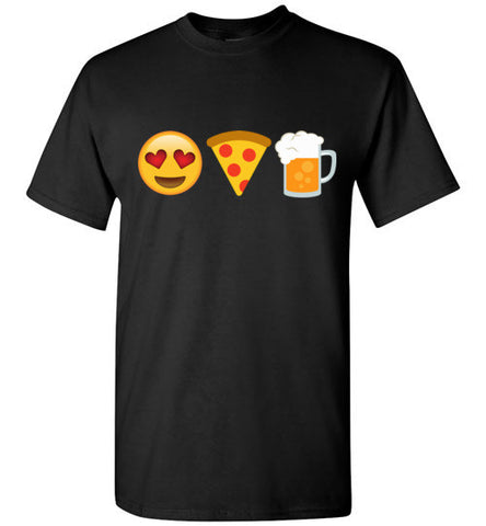 Pizza and Beer Love Emoji T-Shirt