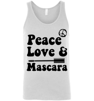 Peace Love and Mascara Unisex Tank Top