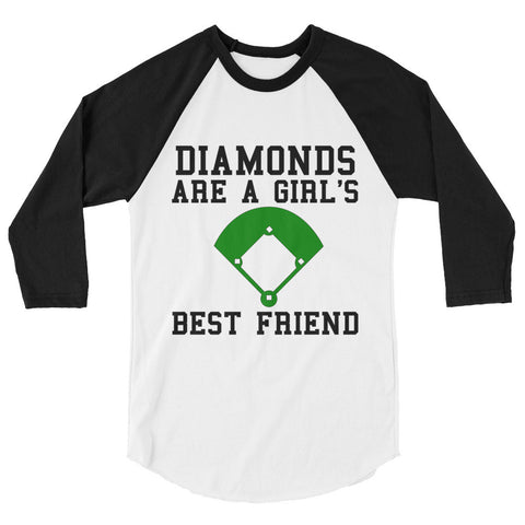 Diamonds are a Girl's Best Friend 3/4 sleeve raglan shirt