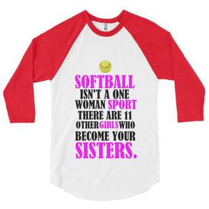 Softball Sisters 3/4 sleeve raglan shirt