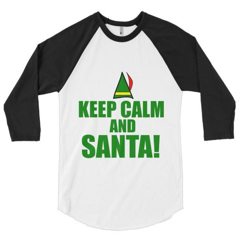 Kep Calm and Santa! 3/4 sleeve raglan shirt