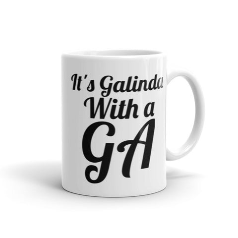 It's Galinda with a GA Mug