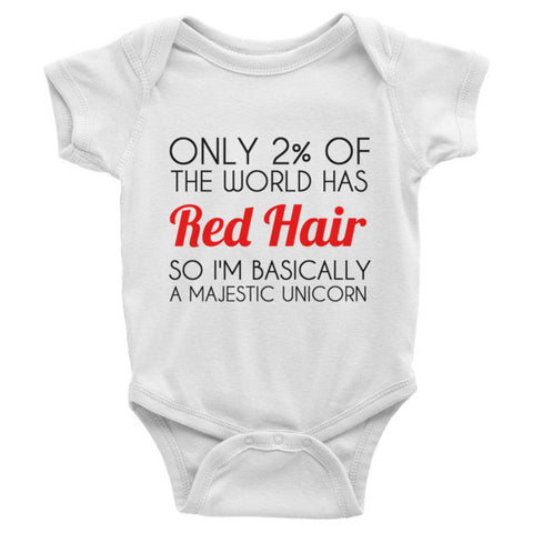 Red Hair Majestic Unicorn Baby one-piece