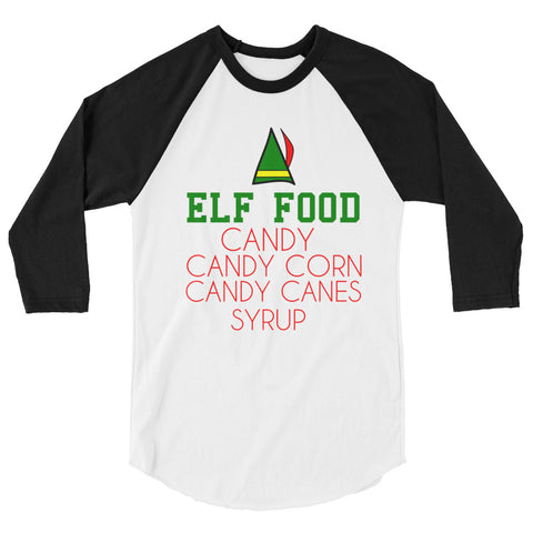 Elf Food Christmas 3/4 sleeve raglan shirt