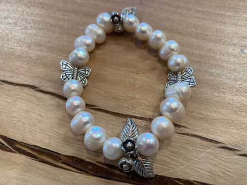 Pearl Bracelet with Silver Charms
