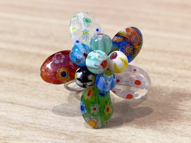Glass Bead Ring - adjustable