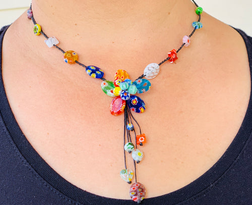 Necklace - glass bead flower