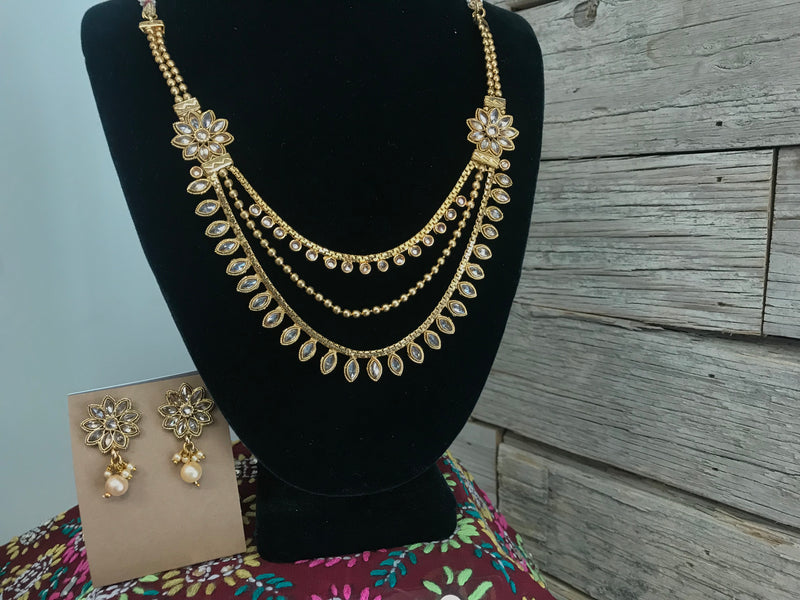 Necklace - brass & rhinestone