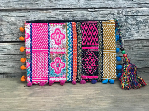 Clutch - woven tribal pompoms