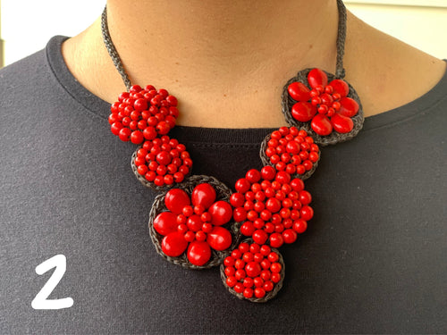 Necklace - stone deluxe red