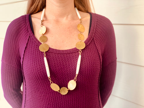 Necklace - brass & bone