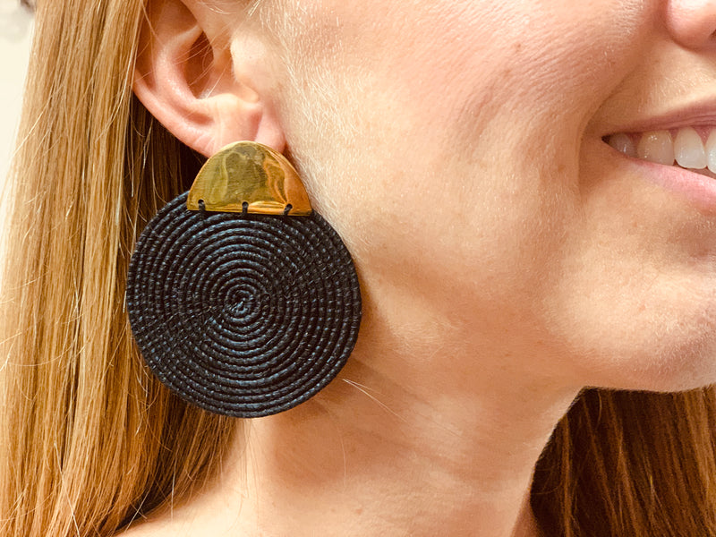 Earrings - woven with brass
