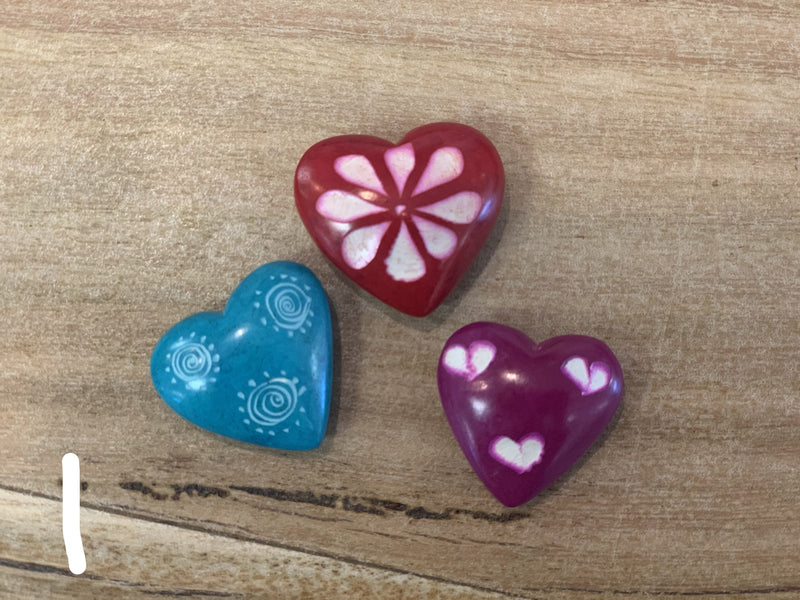 Soapstone Hearts flat - set of 3