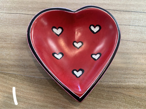 Heart Dish - Soapstone carved RED & WHITE HEARTS