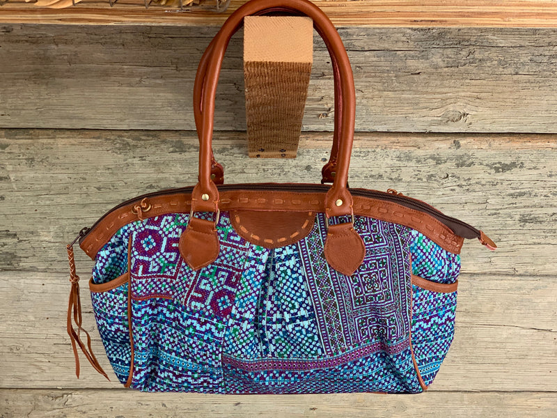 Large Hmong Purse - geo blues