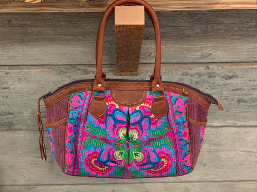 Large Hmong Purse - brights floral