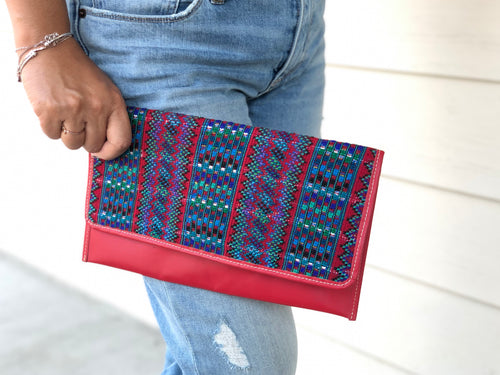 Half Wipil leather envelope Clutch