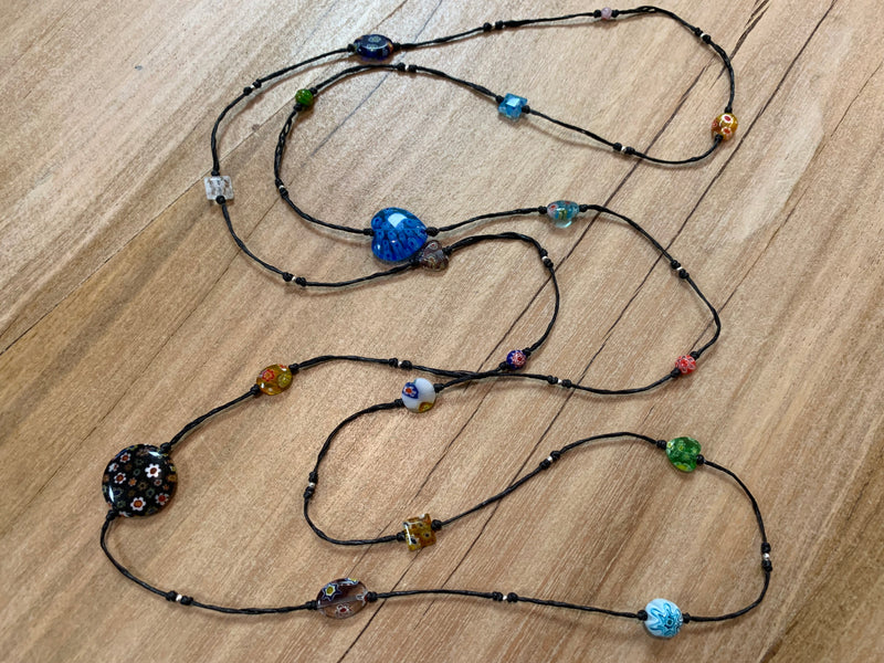 Necklace - glass bead long