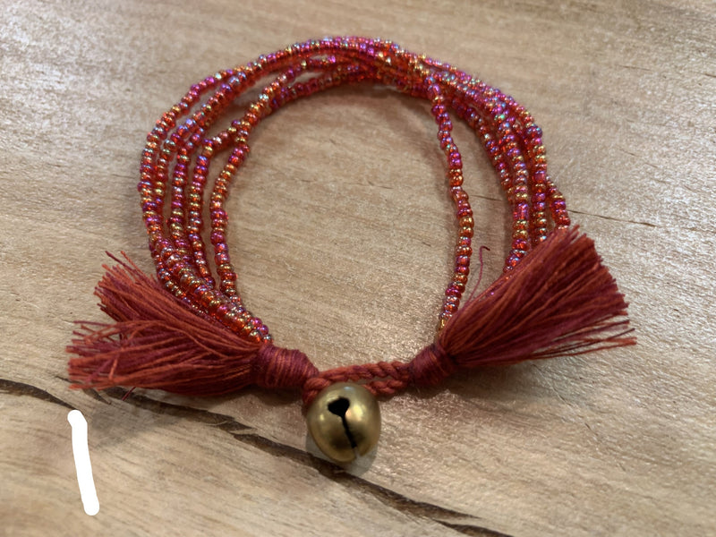 Bracelet - 5 row tassel beaded
