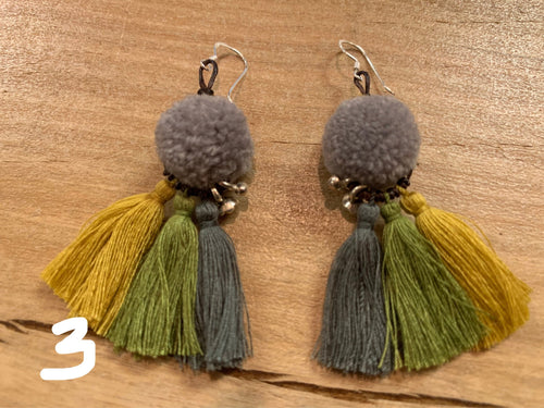 Earrings - pom, tassel & silver