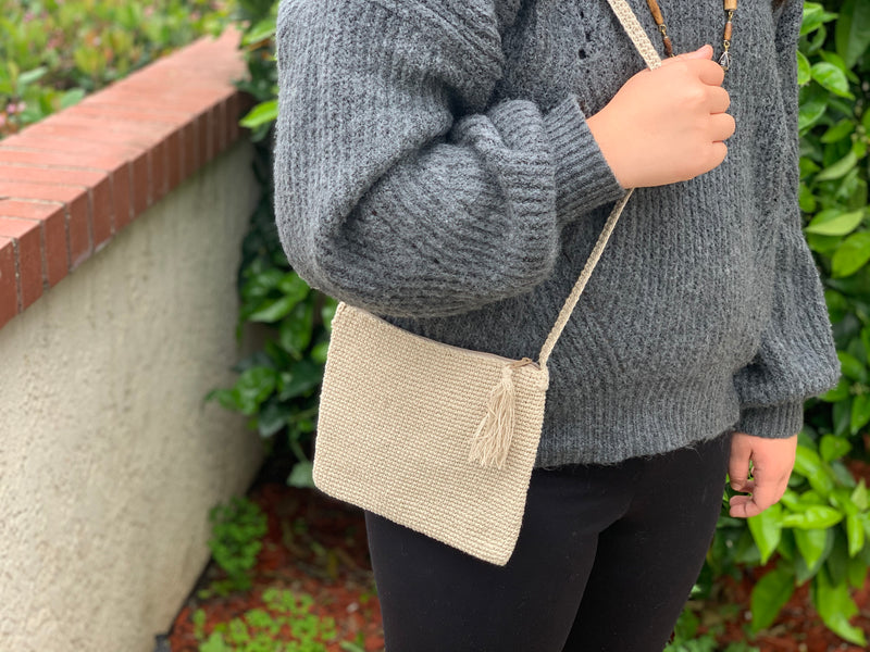 Hemp long shoulder bag