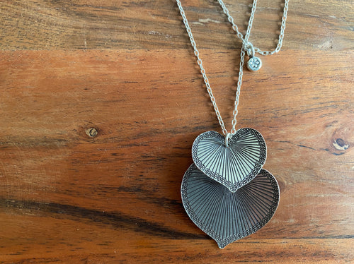 Necklace - silver chain & double heart