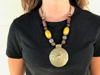 Necklace - African Bead with West African Brass