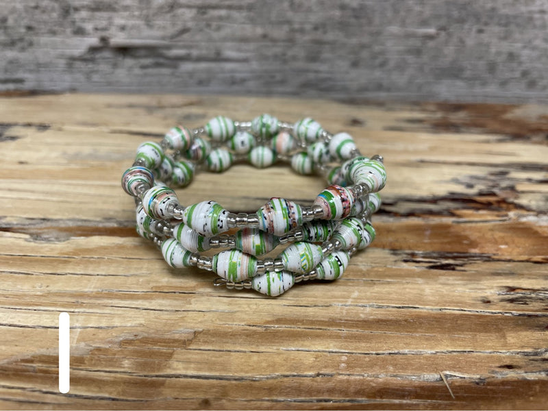 SIMPLE Paper bead memory wire bracelet - OTHER COLORS