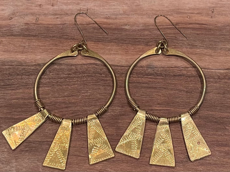 Earrings - Brass beams LG