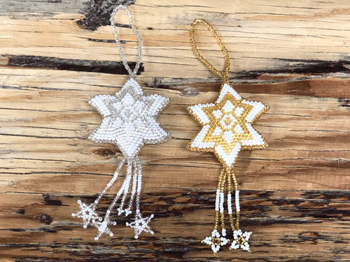 Beaded ornament - star sm - white & gold
