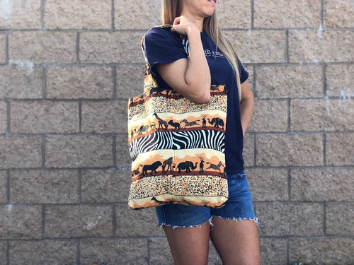 Safari print long shoulder bag