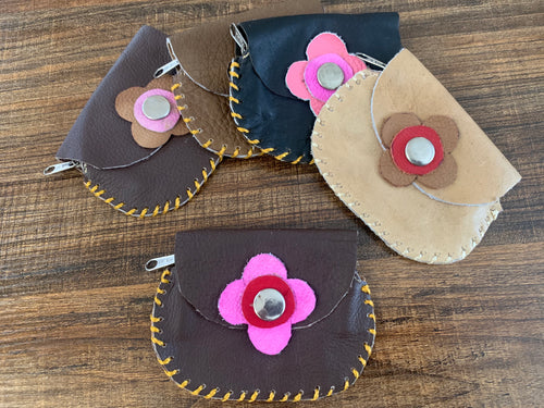 Leather coin purses flower - LIMITED EDITION