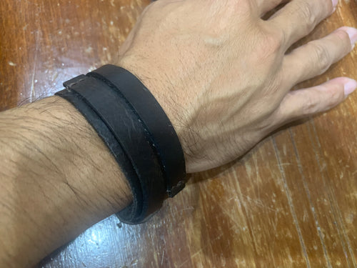Leather bracelet adjustable - XL