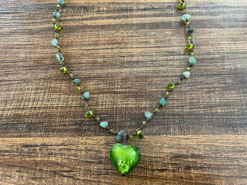 Long Stone & Colored Necklace - Heart