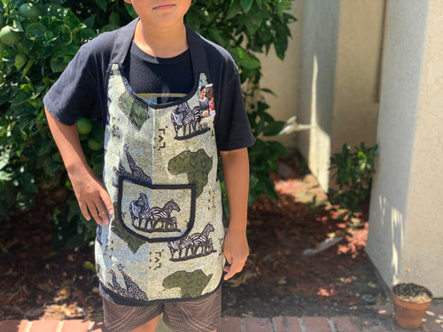 Kids Apron - green safari